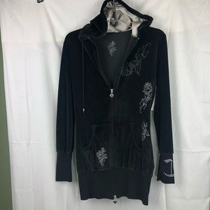 EUC-Velvet Jacket Swarovski & embossed Tattoos